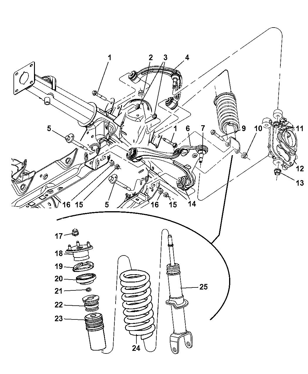 2007 dodge dakota control arms, spring, shock, knuckle - front