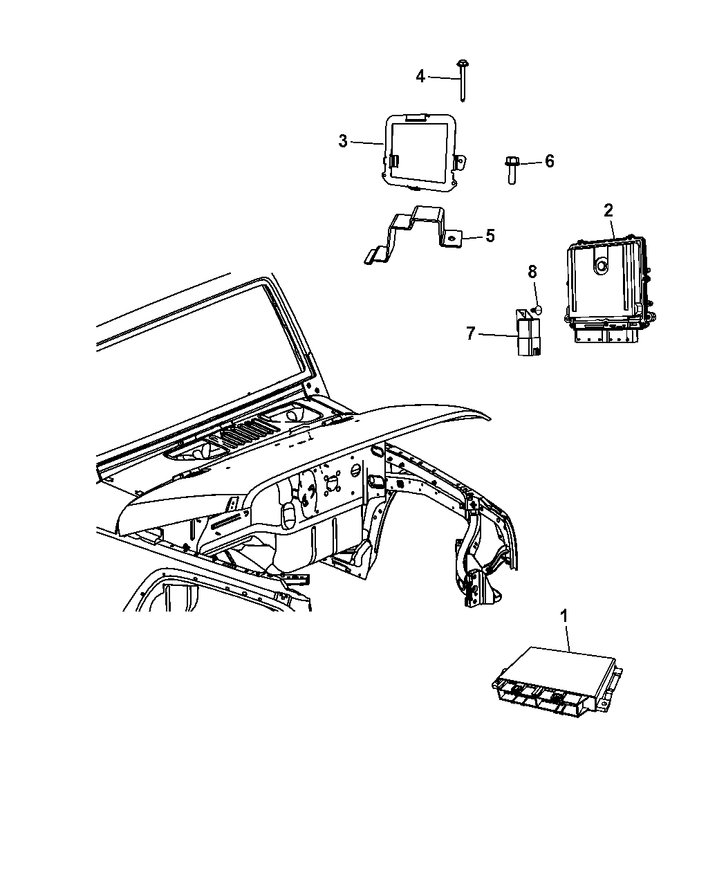2012 Jeep Wrangler Modules, Engine Compartment