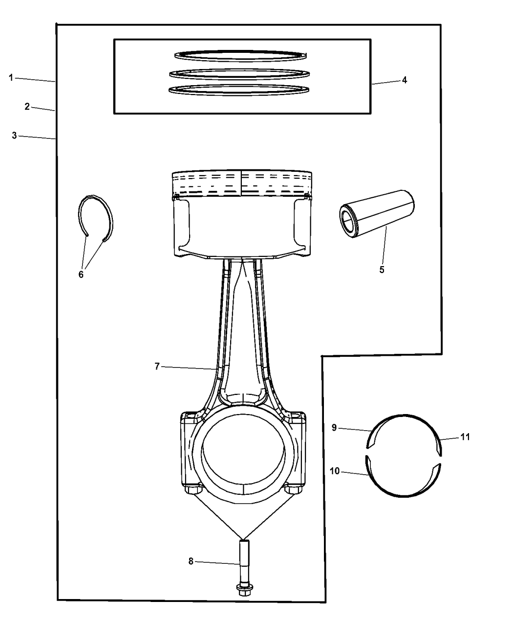 2009 Dodge Journey Pistons, Piston Rings, Connecting Rods & Connecting Rod  Bearing - Thumbnail