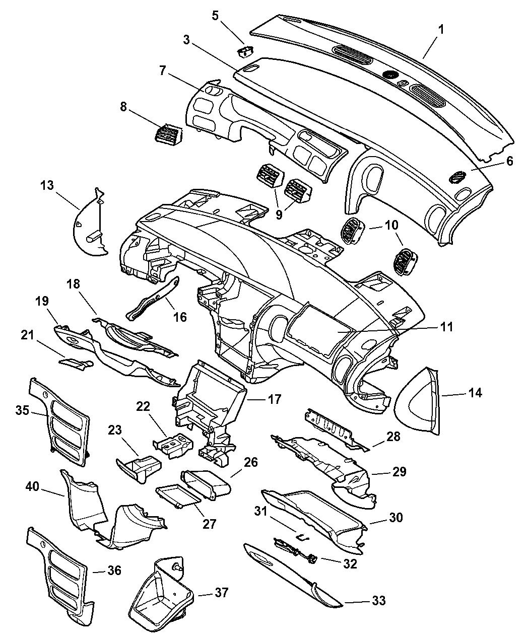 Dodge Intrepid Floor Mats: Genuine Dodge ASHTRAY-INSTRUMENT PANEL