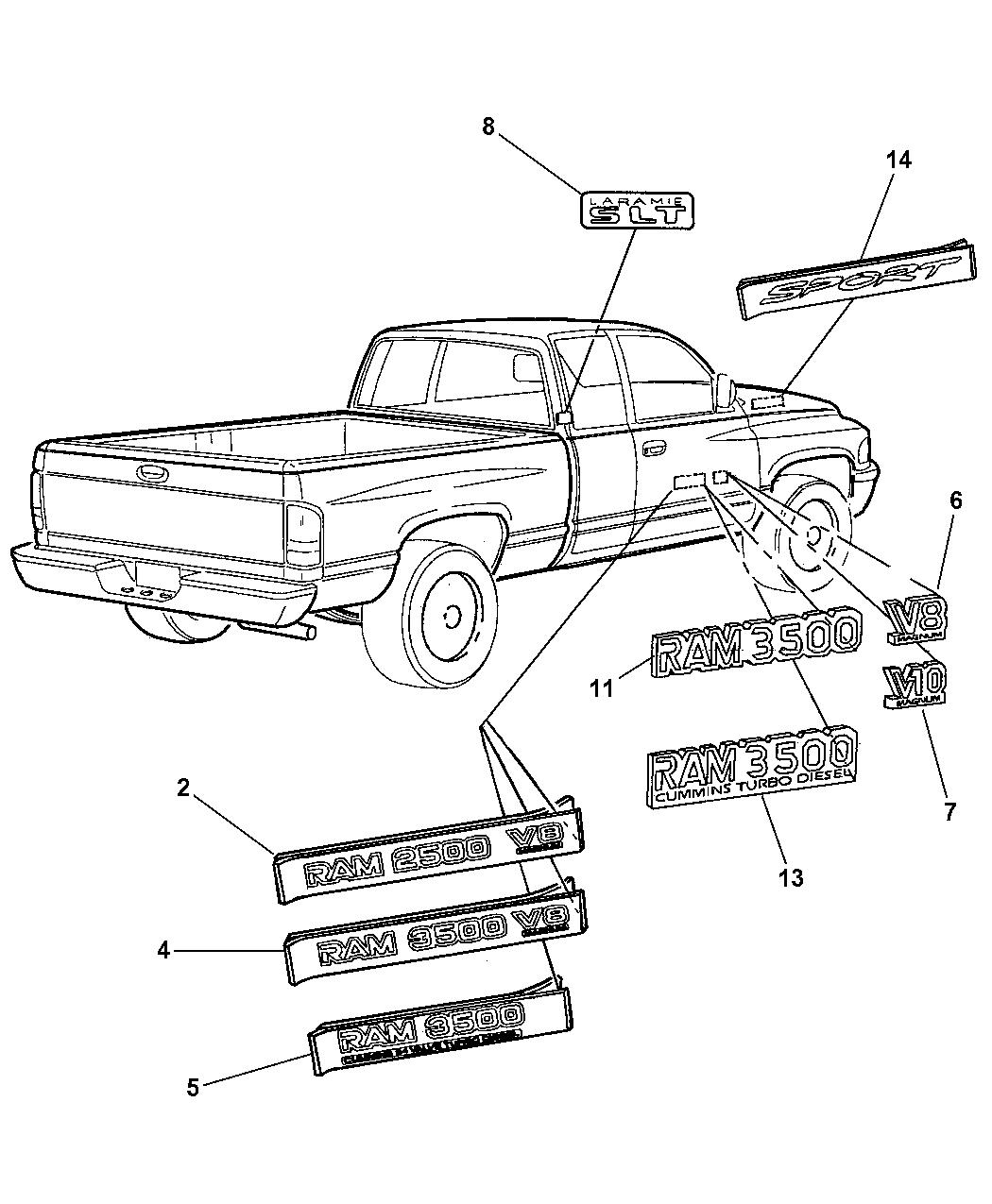 2000 Dodge Ram 1500 Quad & Club Cab Nameplates