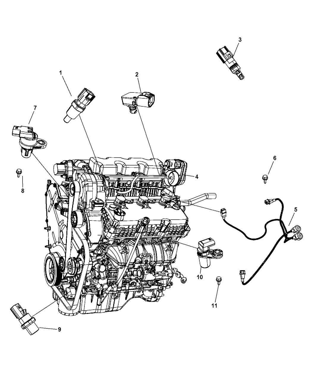 4606093ad genuine chrysler sensor detonation rh moparpartsgiant com 2009 Dodge Journey Wiring-Diagram 2009 dodge journey 2.4 engine diagram