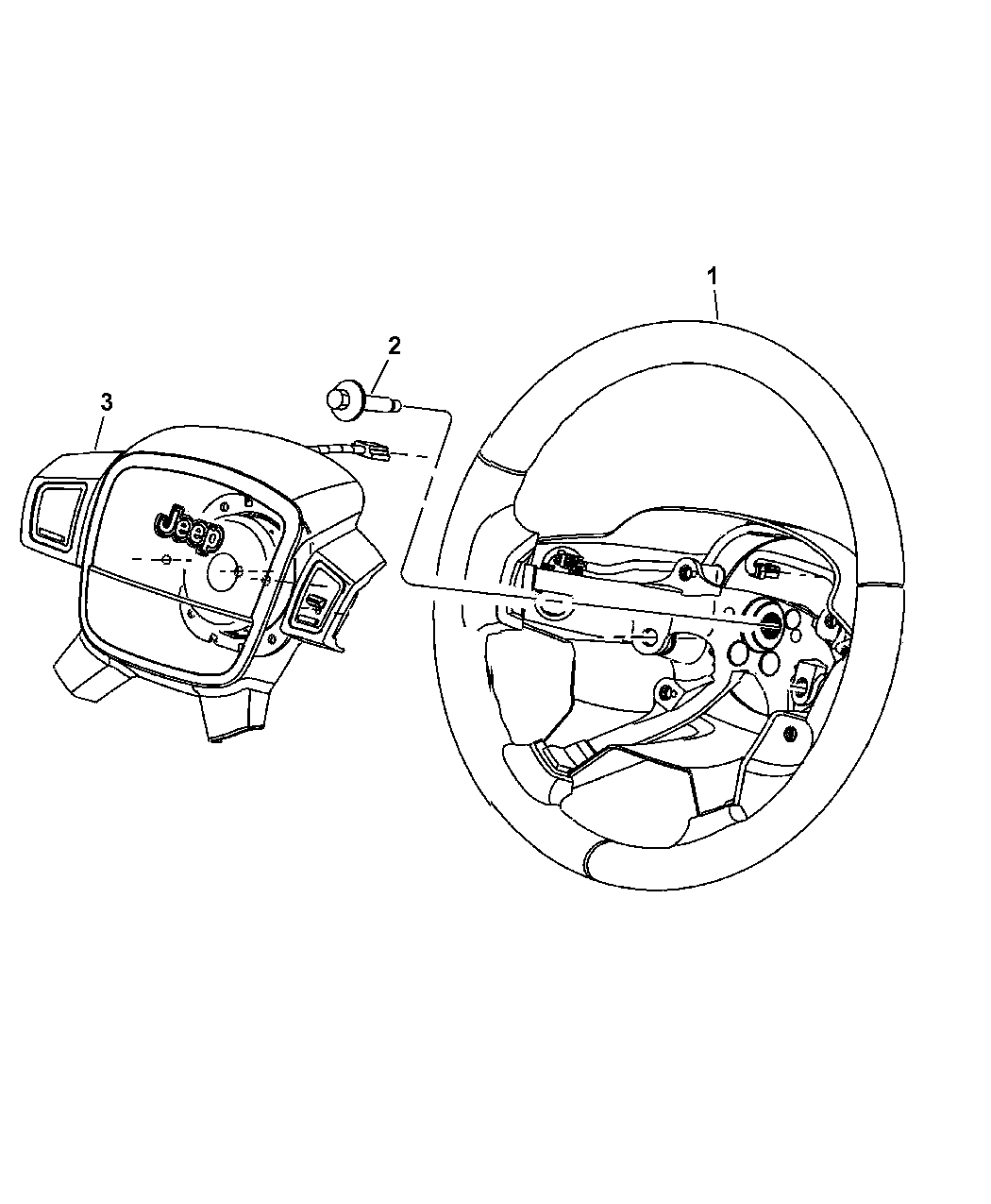 2008 Jeep Grand Cherokee Steering Wheel Assembly