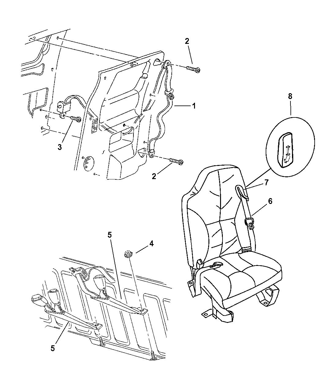 1998 Dodge Ram 3500 Quad & Club Cab Shoulder Belt, Front