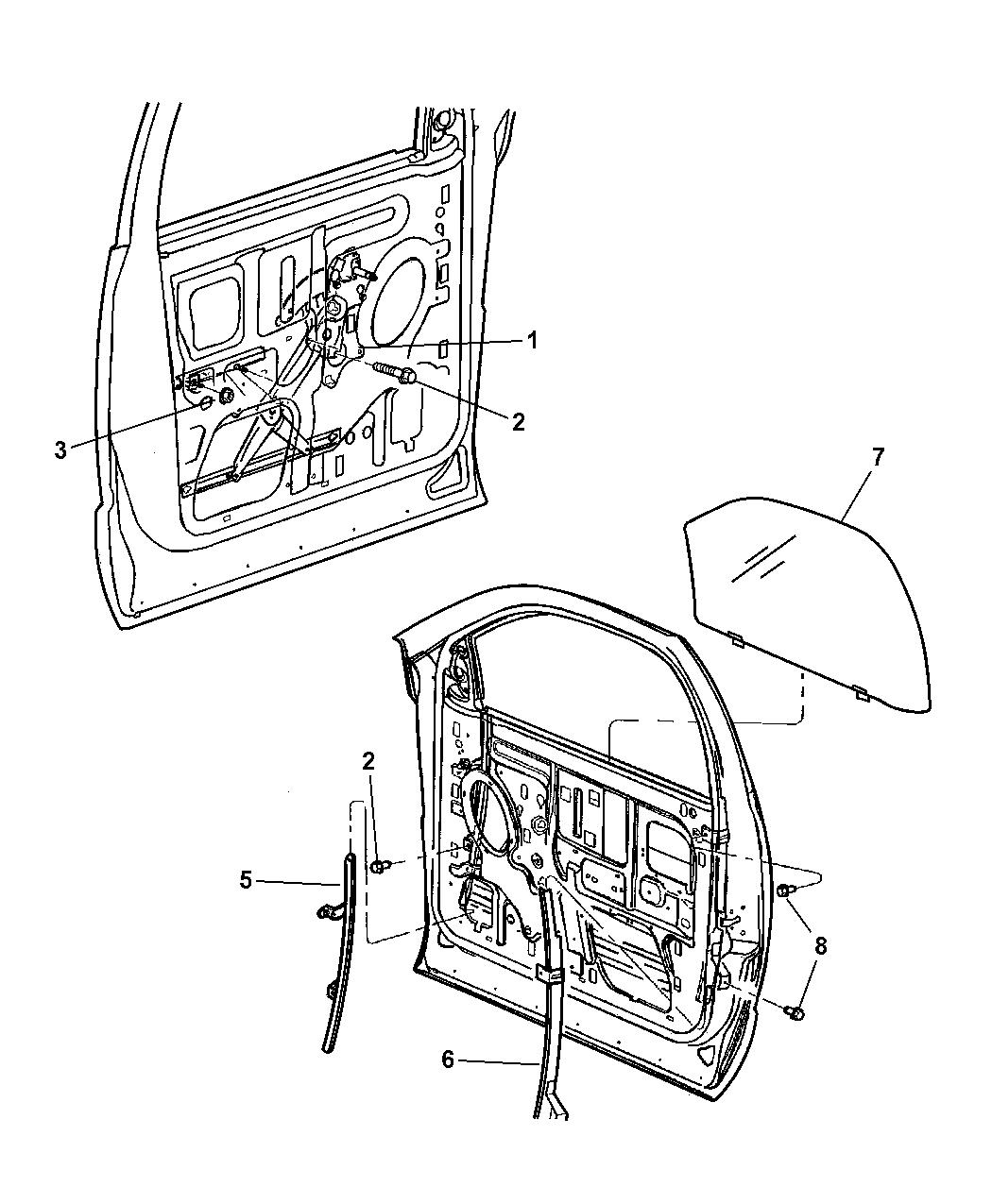 2004 Dodge Ram 1500 Door, Front Glass & Regulator
