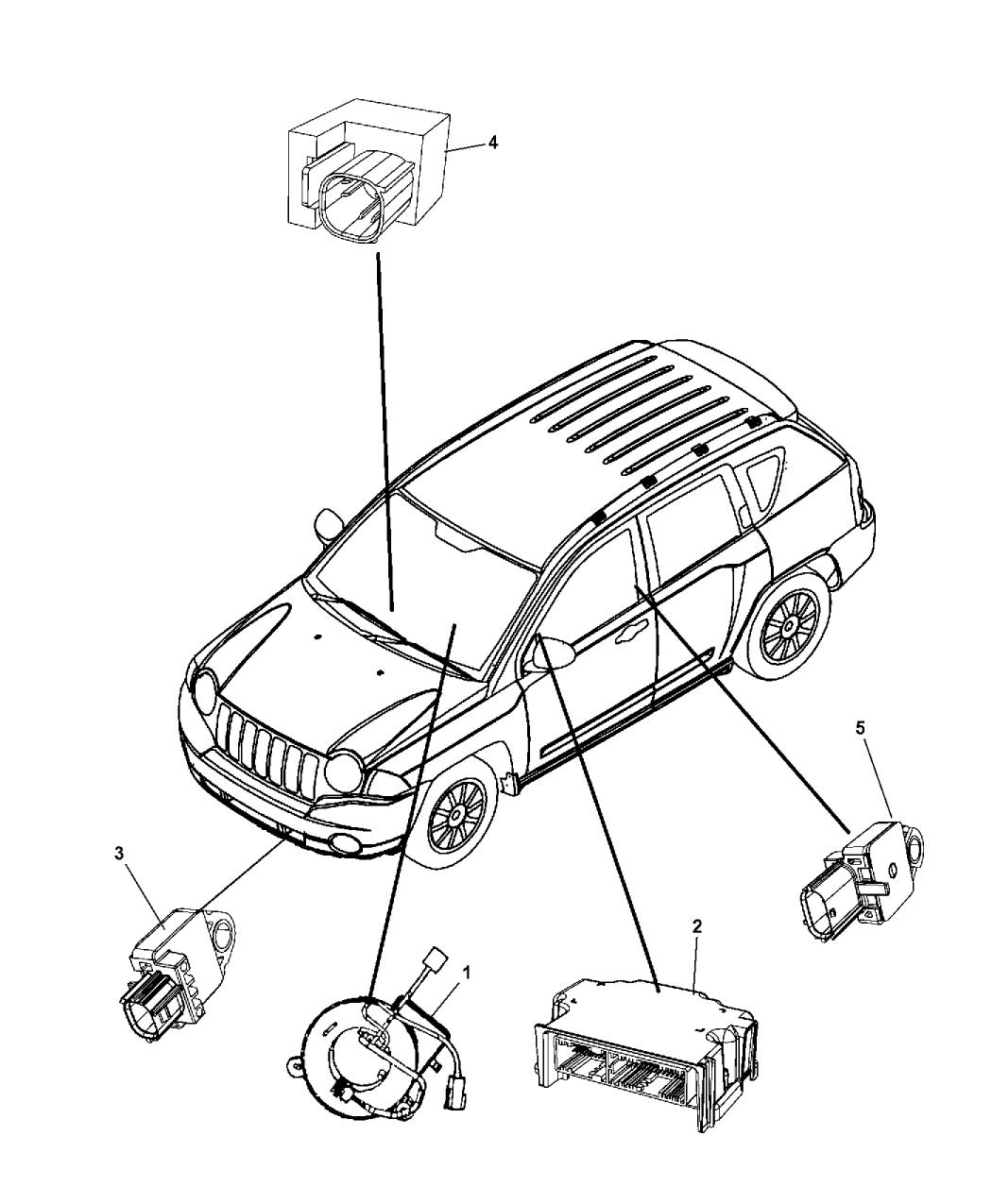 2010 Jeep Compass Air Bag Modules Impact Sensor & Clock