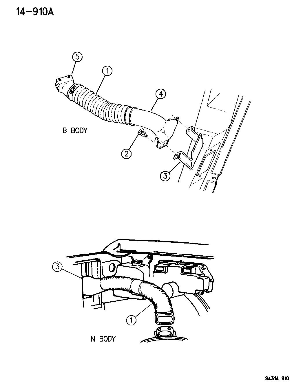 1994 dodge ram van air intake system