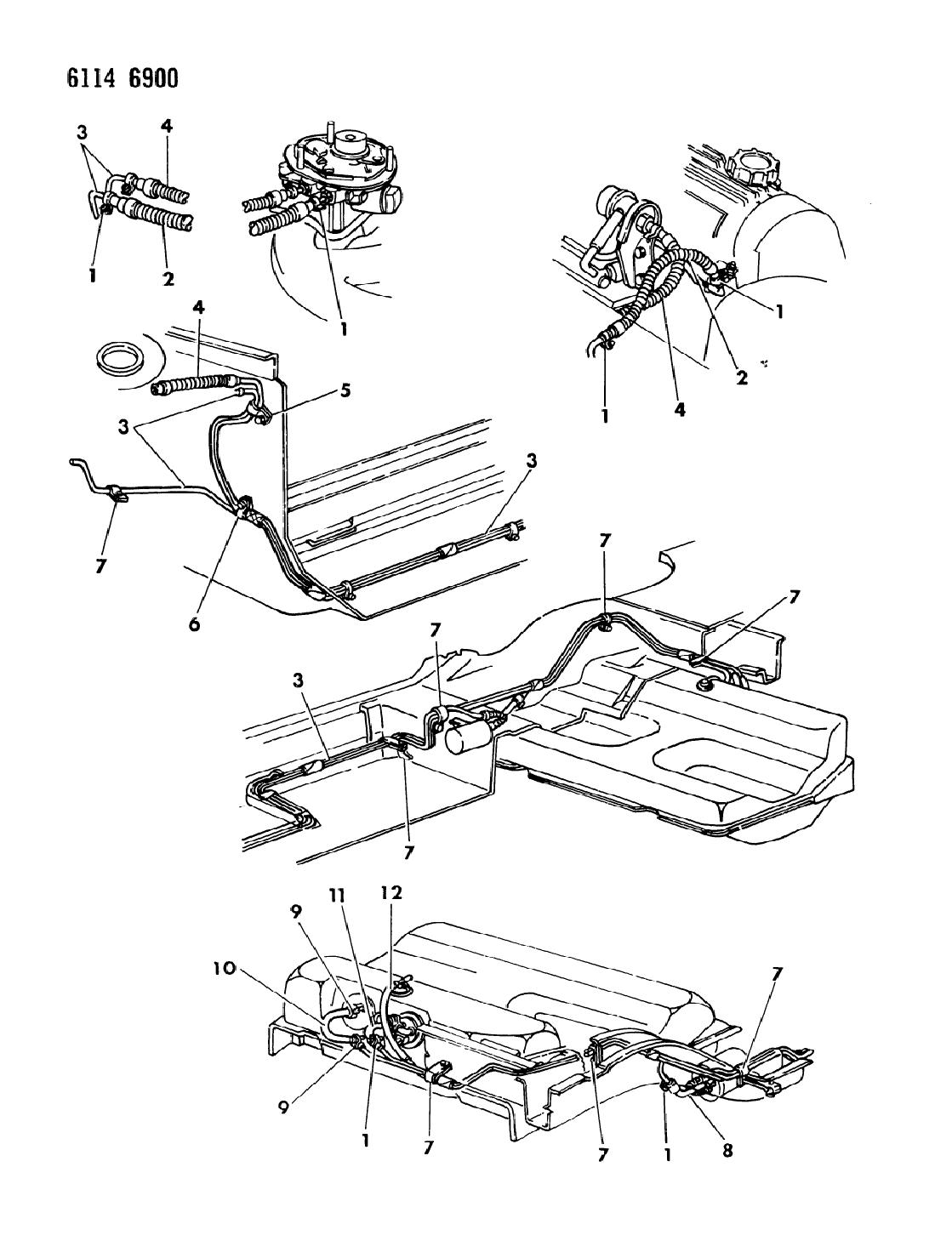 1986 chrysler lebaron gts fuel lines