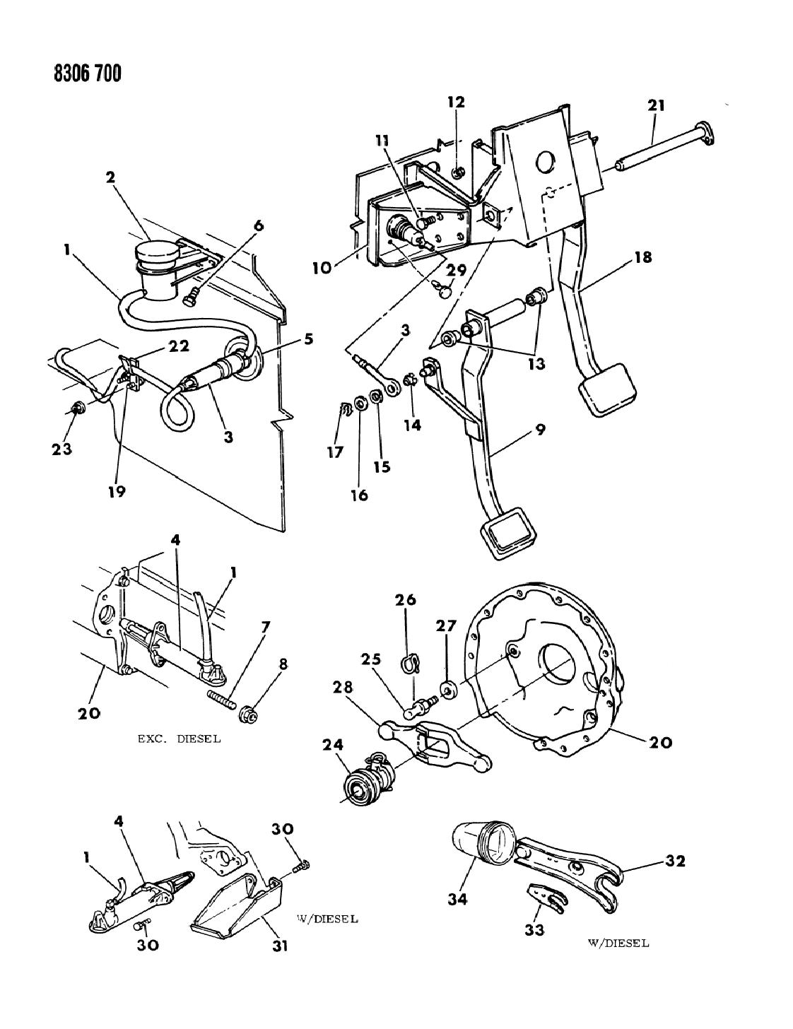 1989 dodge w250 controls  hydraulic clutch
