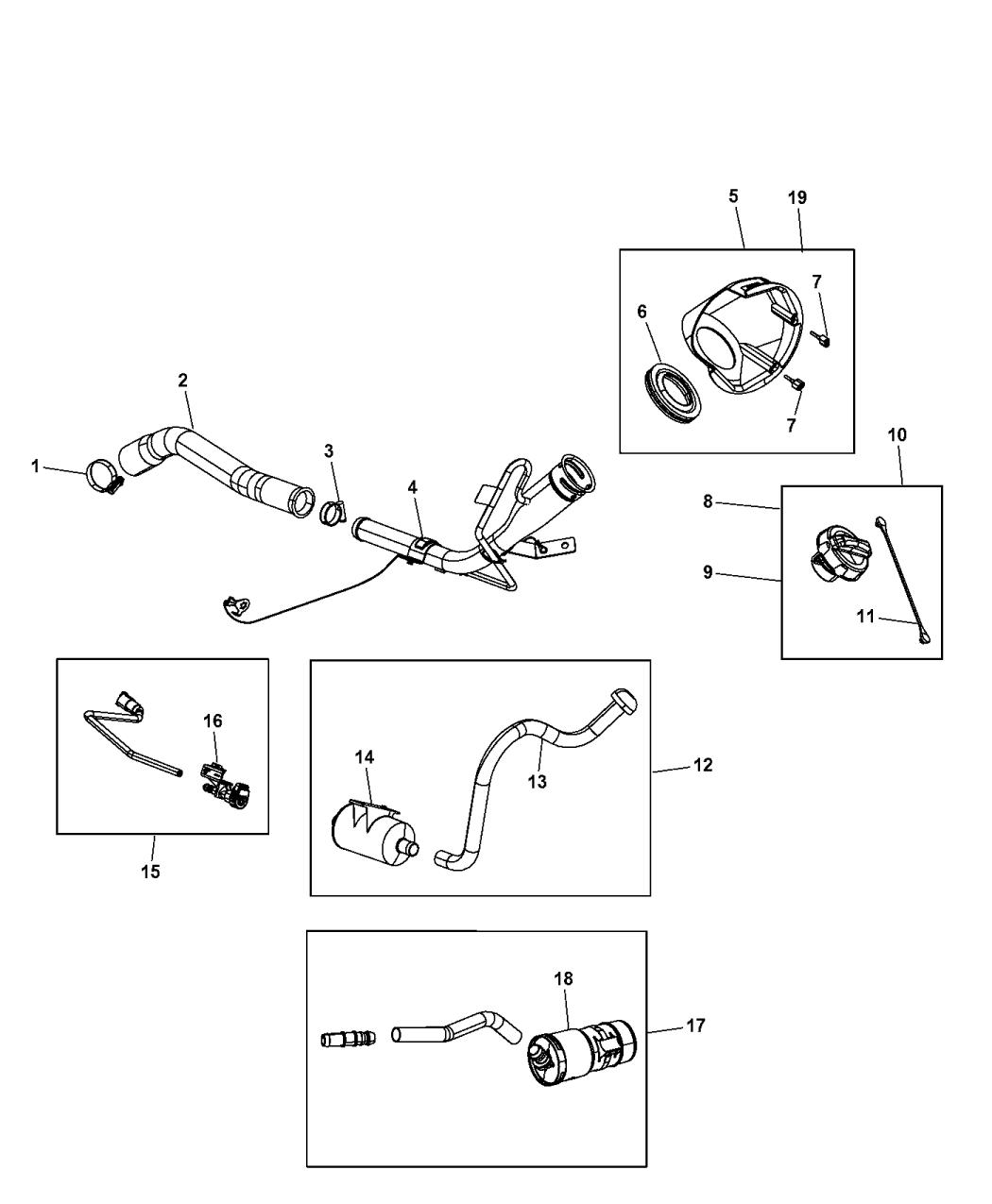Fuel Vapor Leak Detection Pump Filter Mopar 04891561AA