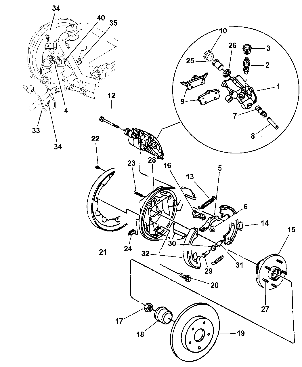 1997 Chrysler Sebring Convertible Brakes, Rear Disc