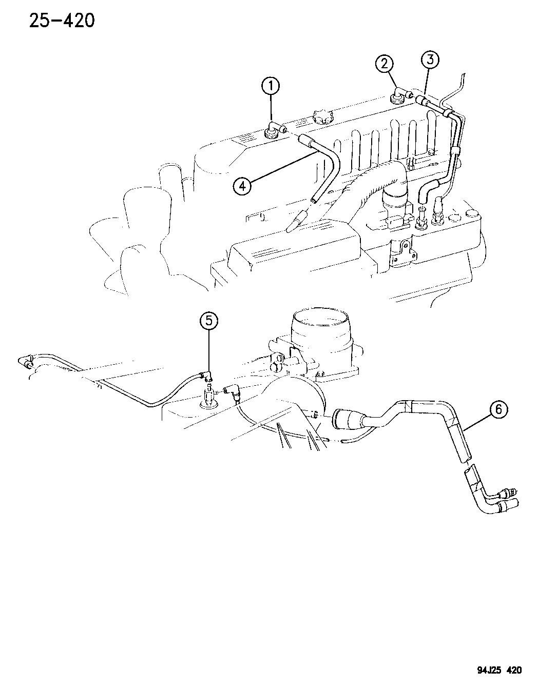 1994 Jeep Wrangler Emission Control Vacuum Harness Engine Diagram Thumbnail 2