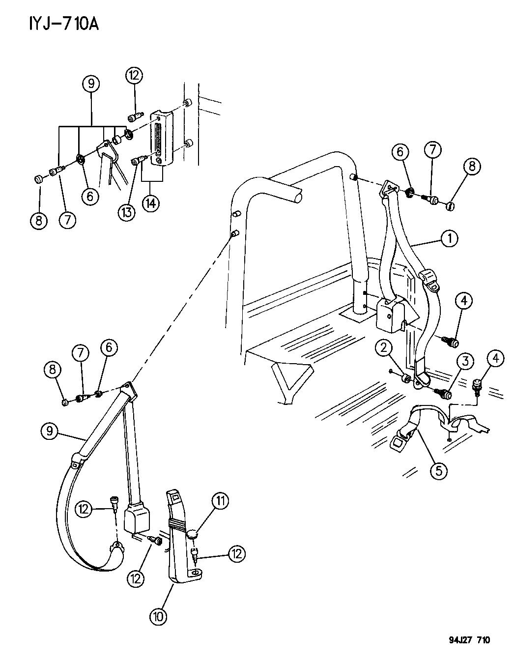 1994 Jeep Wrangler Seat Belts - Mopar Parts Giant