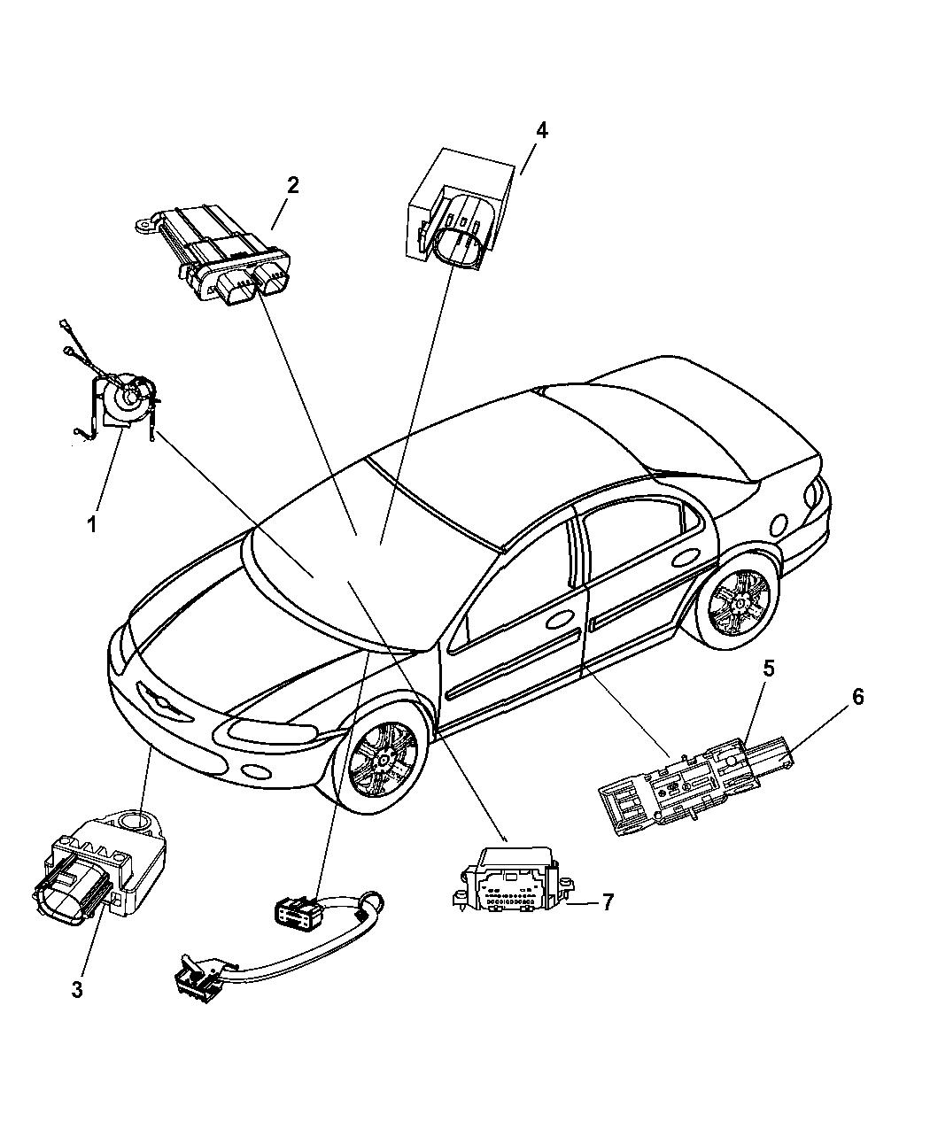 2010 Dodge Avenger Air Bag Modules Impact Sensor & Clock