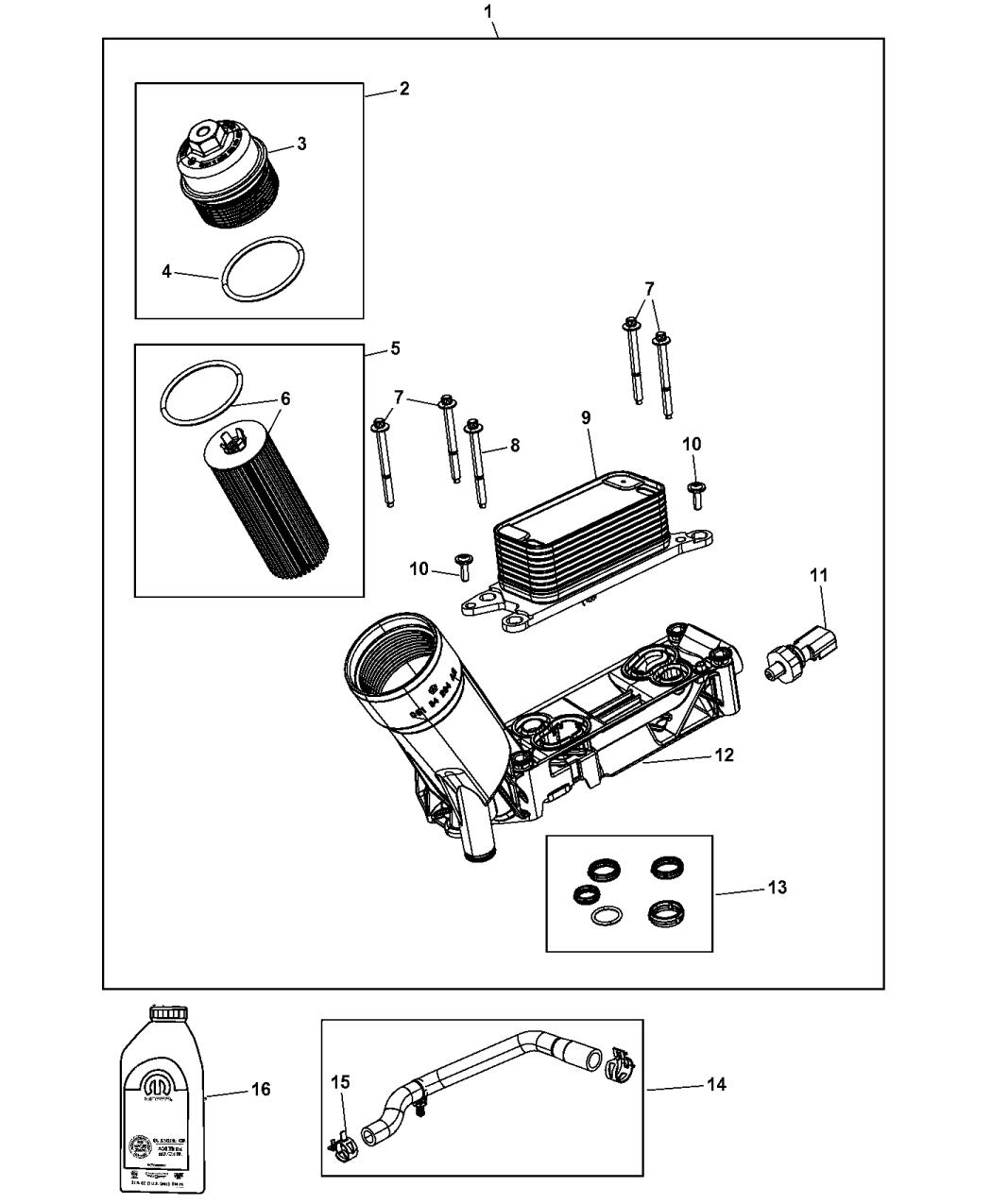 68308741ab Genuine Mopar Adapter Engine Oil Filter