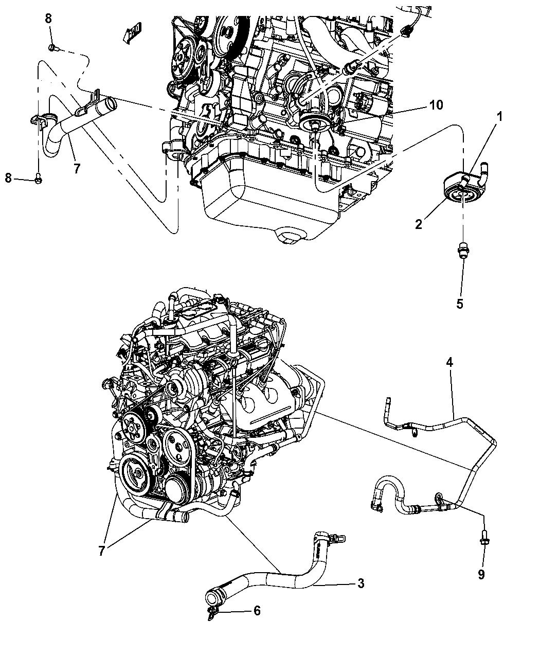 2009 Dodge Grand Caravan Engine Oil Cooler Hoses Tubes