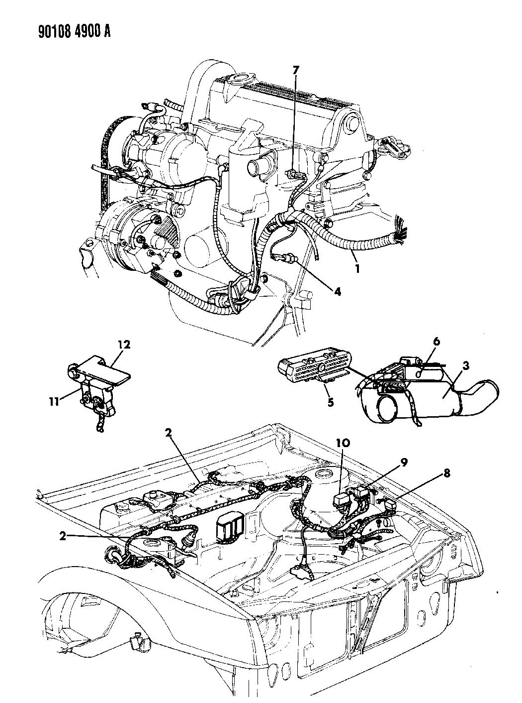 1990 Dodge Shadow Wiring - Engine