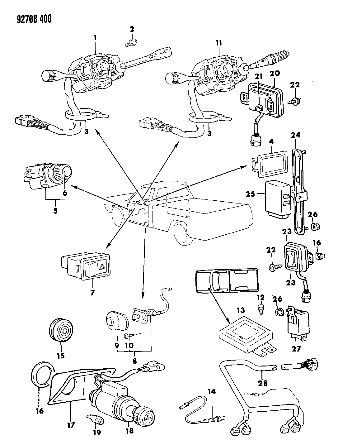 1992 Dodge Ram 50 Switches & Electrical Controls