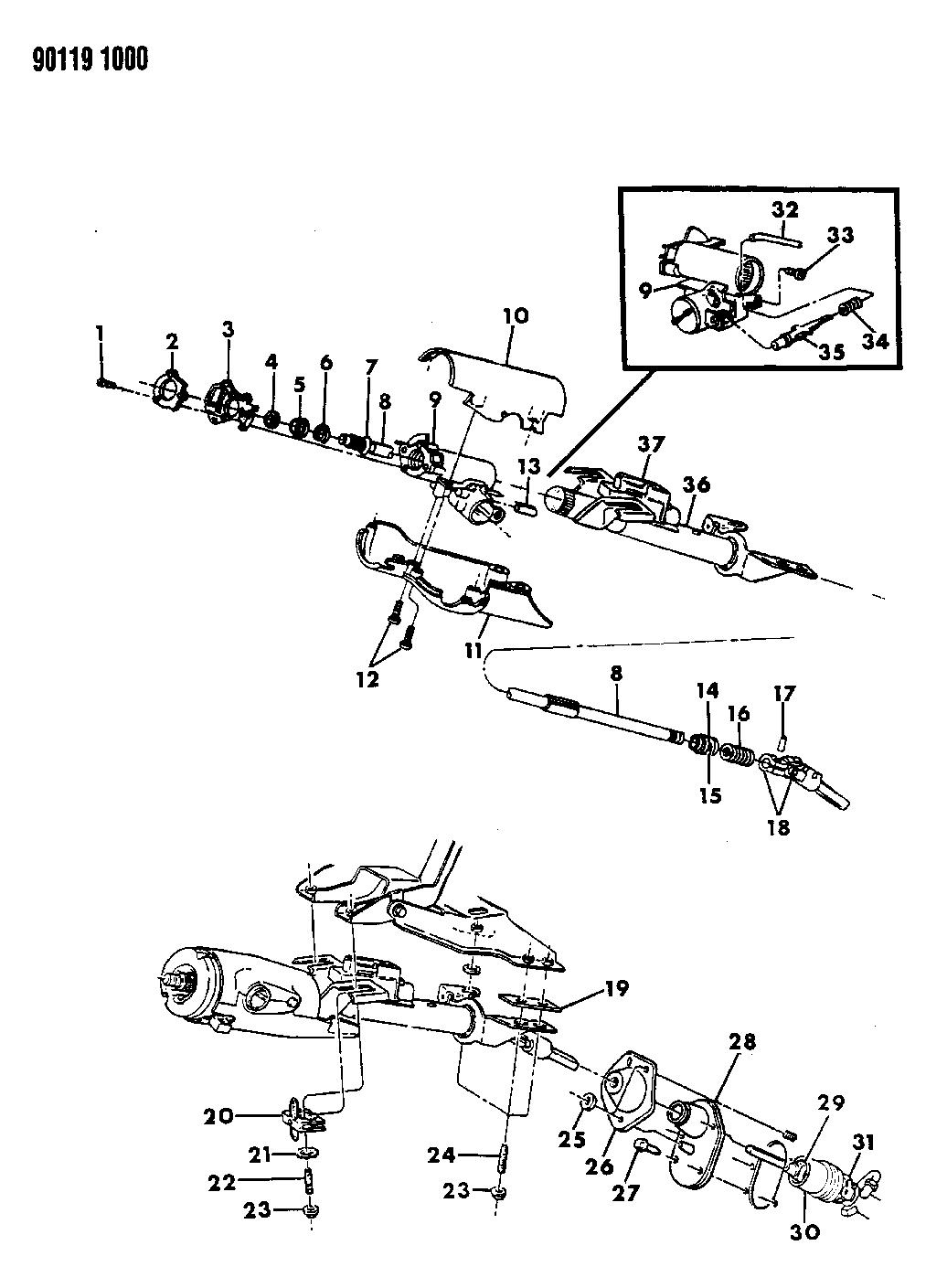 1990 Dodge Omni Column Steering Upper And Lower Wiring Diagram