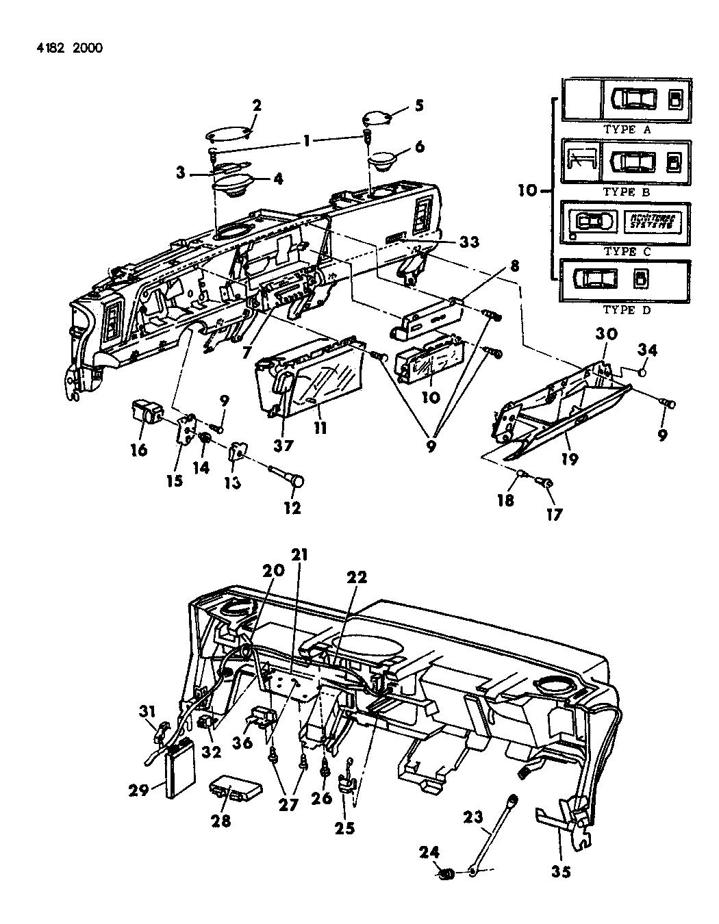 1984 Dodge Daytona Instrument Panel Cluster, Switches, Glovebox & Speakers