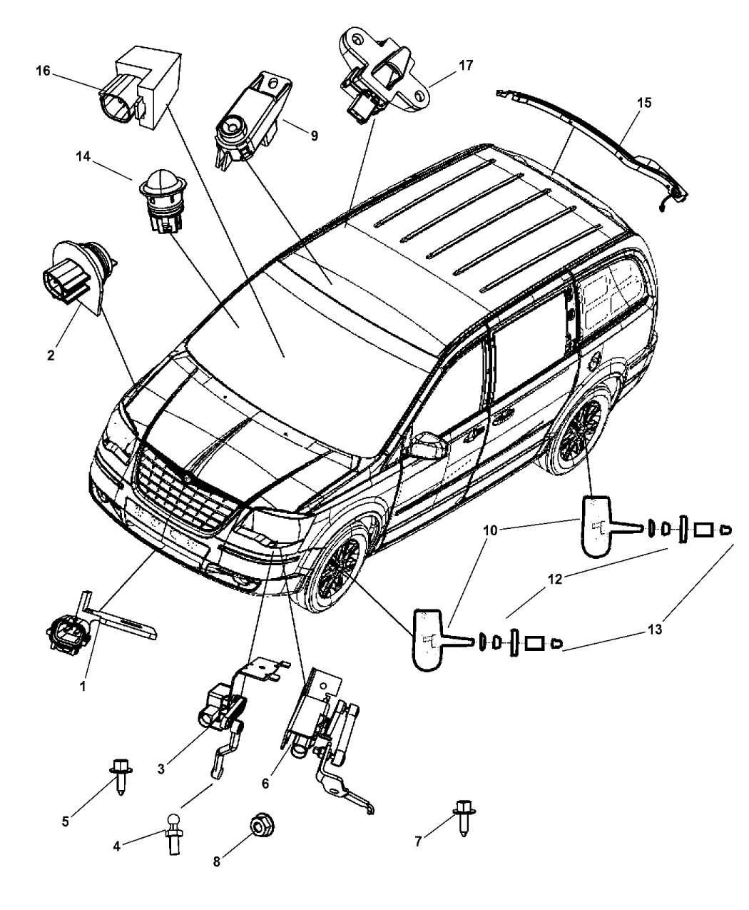 2008 Dodge Grand Caravan Sensors Body - Mopar Parts Giant