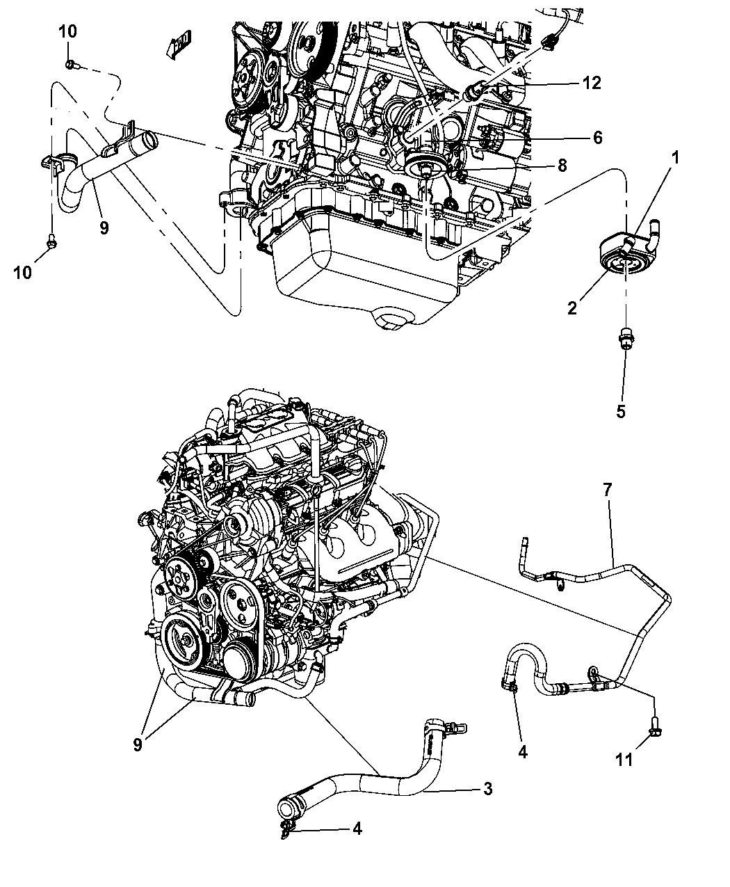 4677584AB - Genuine Dodge HOSE-OIL COOLER OUTLET