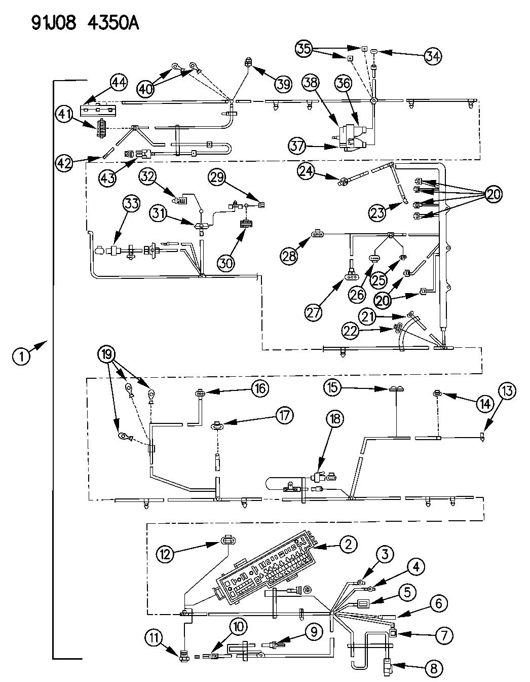 1991 Jeep Comanche Wiring - Headlamp To Dash