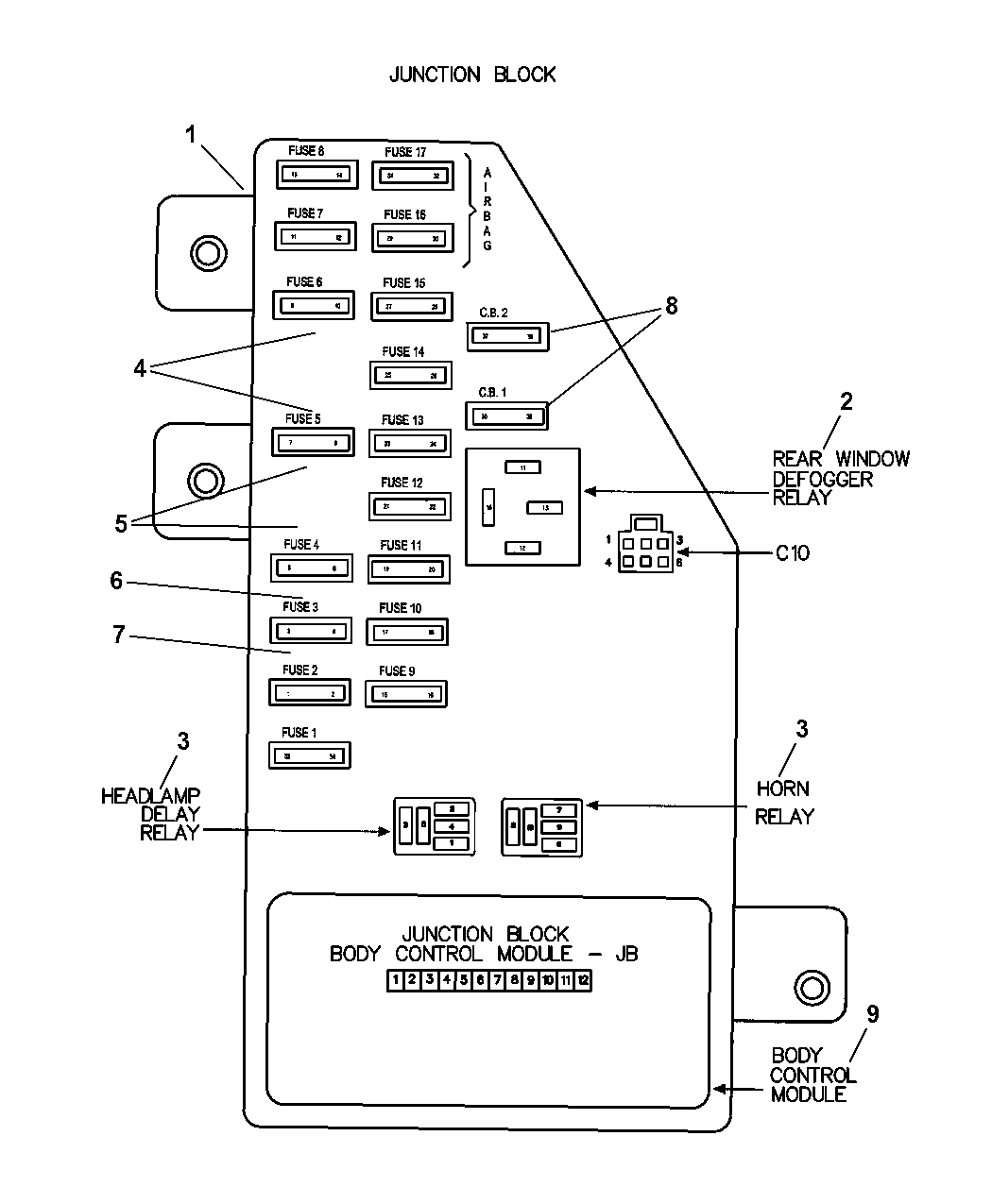 2001 dodge stratus sedan junction block relays, fuses and 2001 Dodge Stratus Fuse Diagram