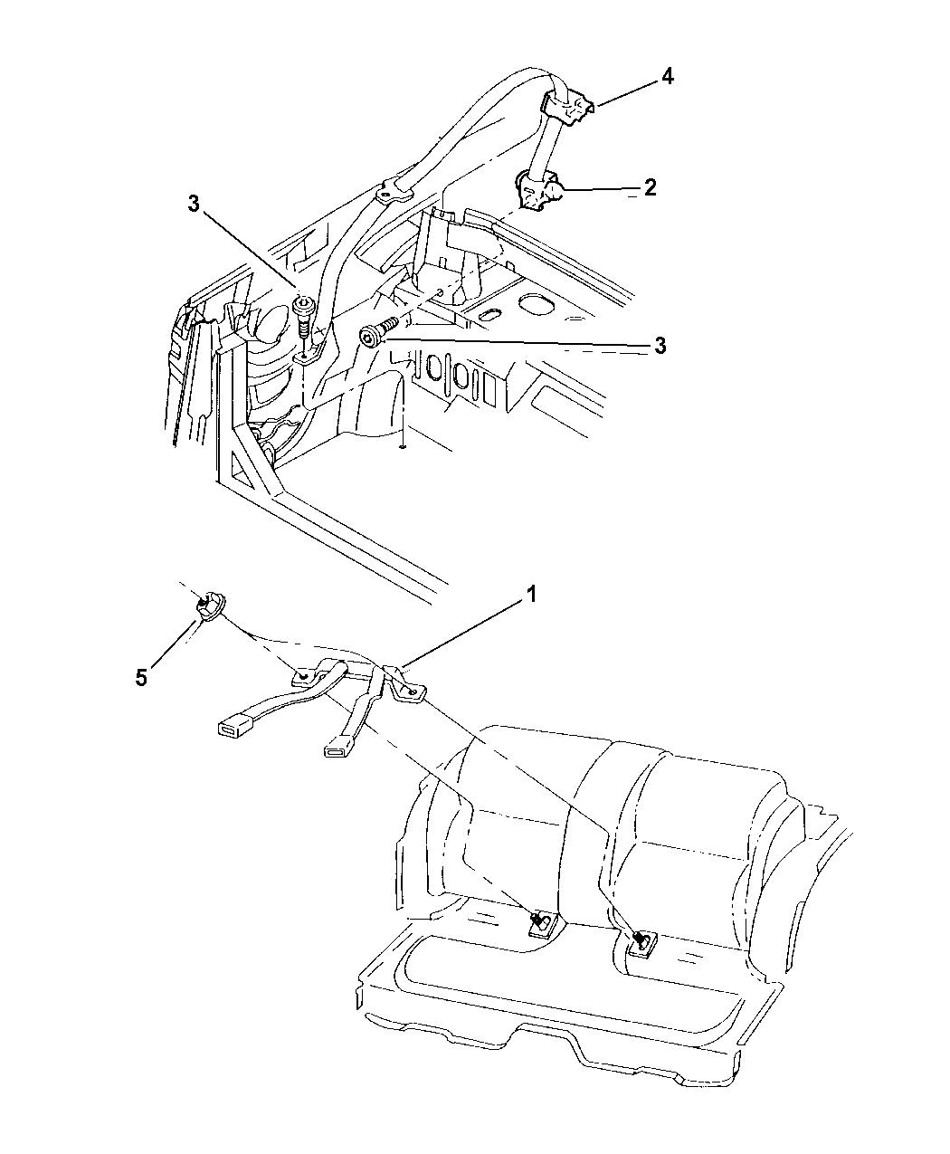 1999 Chrysler Sebring Convertible Rear Seat Belt