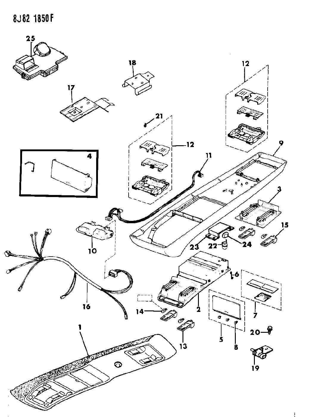 1990 jeep cherokee console  overhead