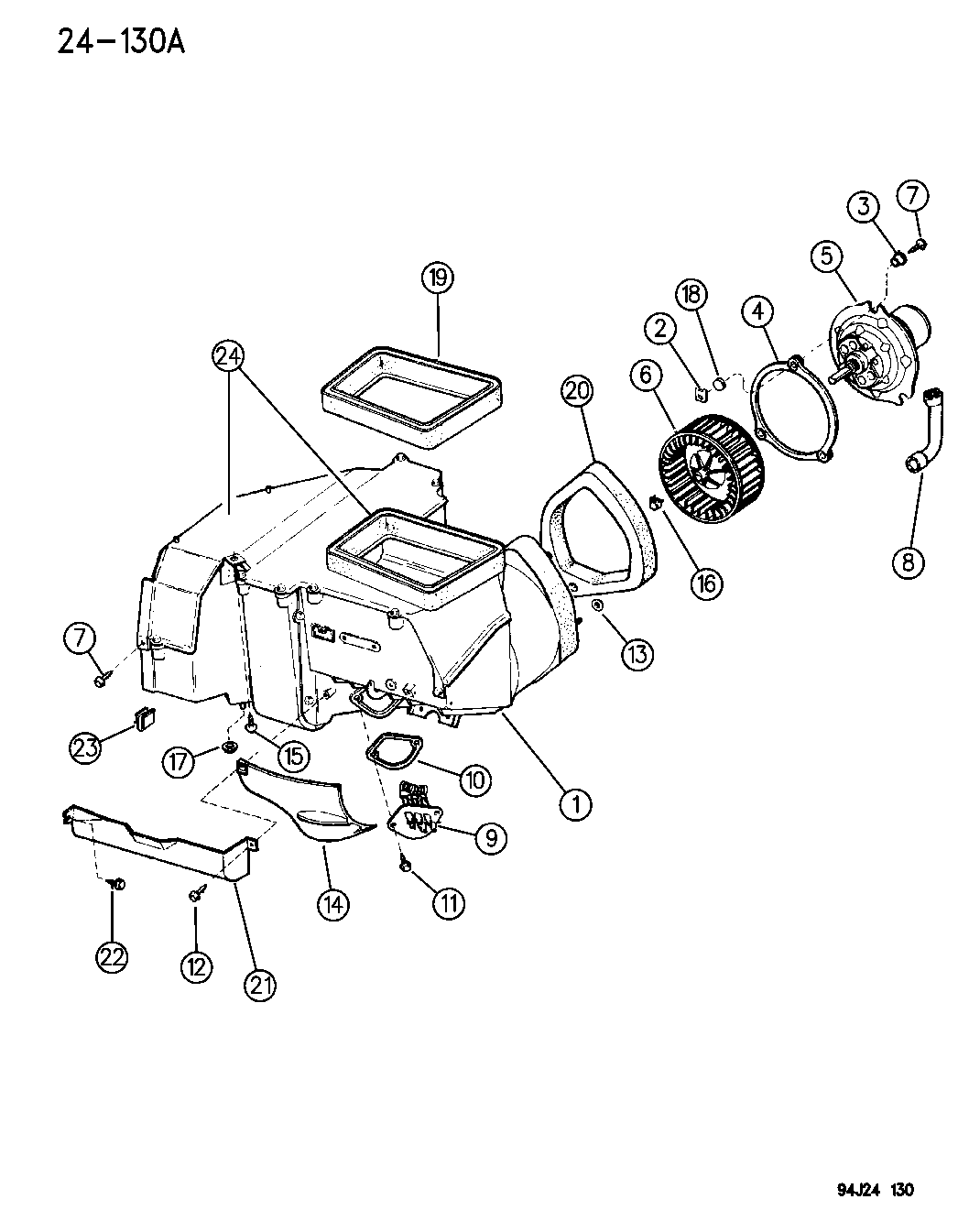 1996 Jeep Cherokee Blower Motor And Housing Heater And Air