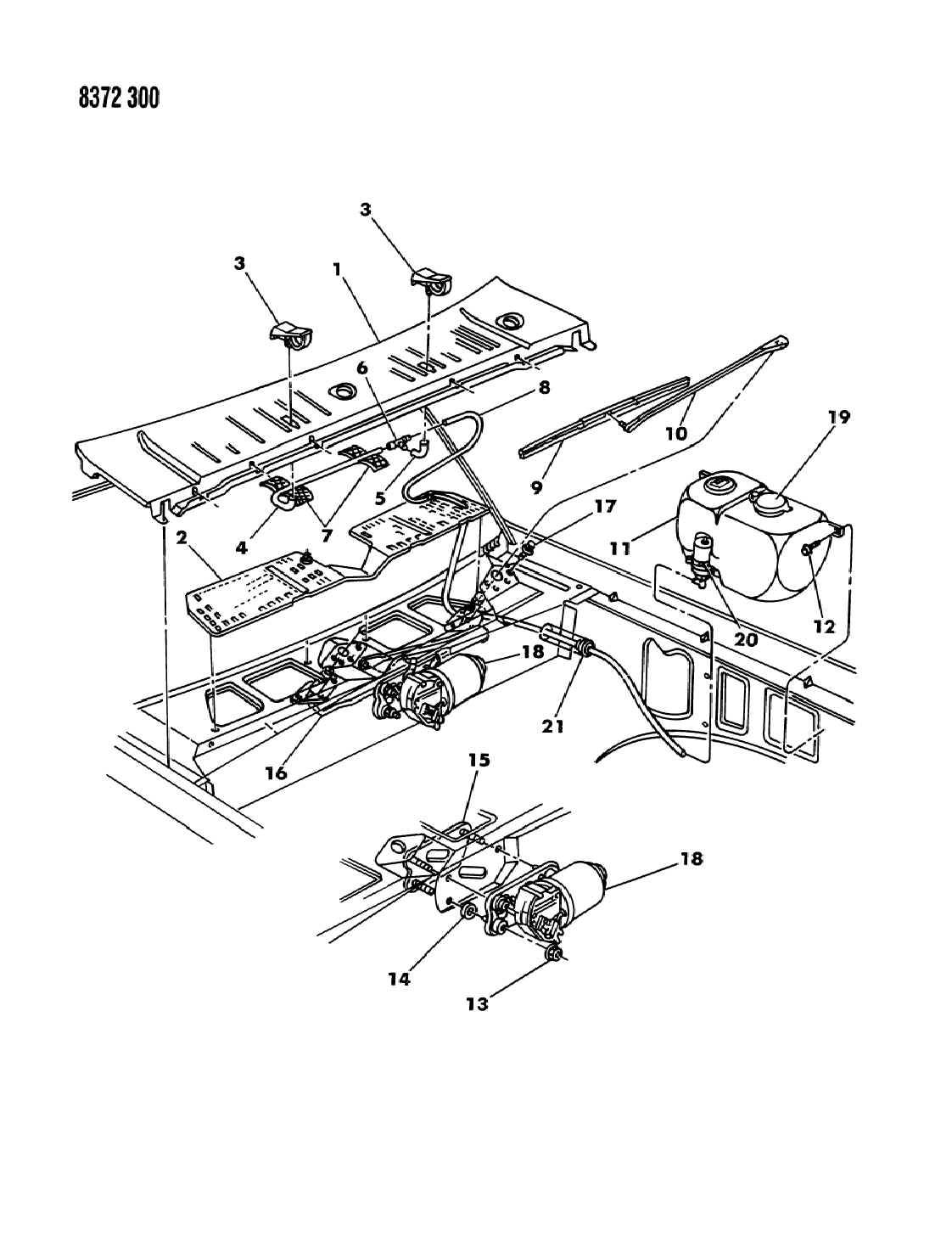 1988 Dodge Dakota Windshield Wiper & Washer System