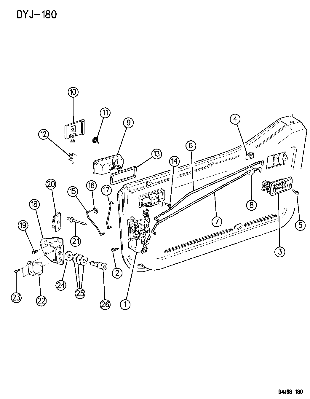 55075889 Genuine Mopar Link Inside Lock To Latch 1994 Jeep Wrangler Engine Diagram Door Front Half And Controls