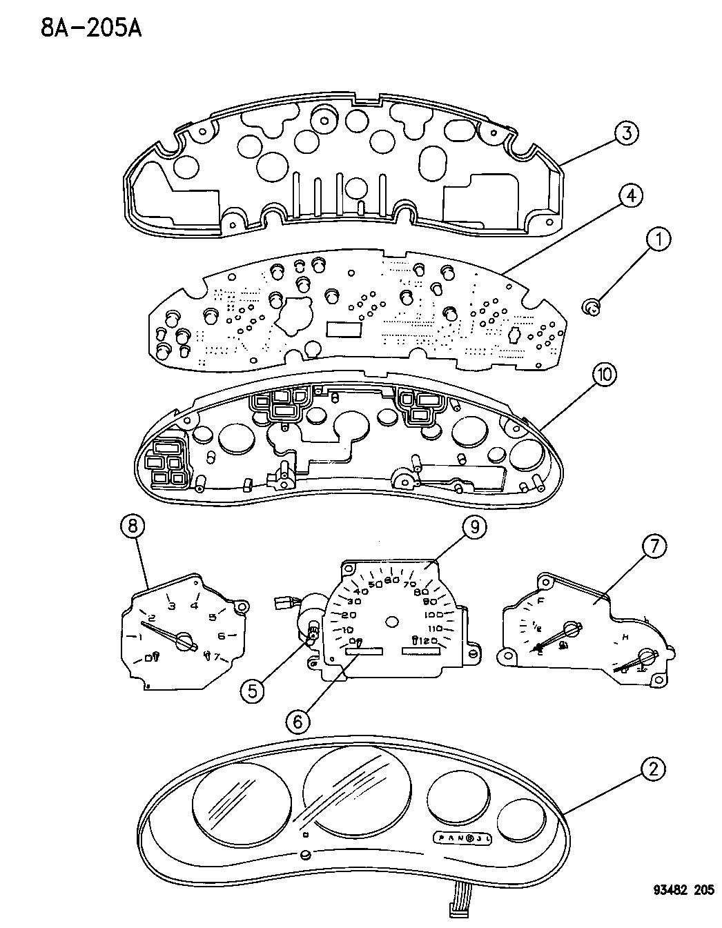 1995 Chrysler Concorde Cluster Instrument Panel 1993 Wiring Diagram Thumbnail 1