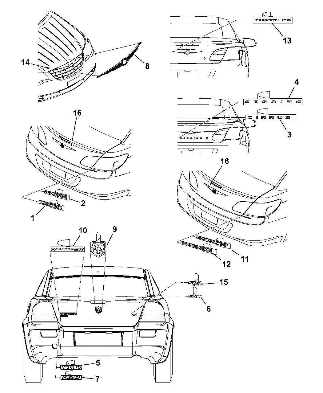 2007 Chrysler Sebring Nameplates