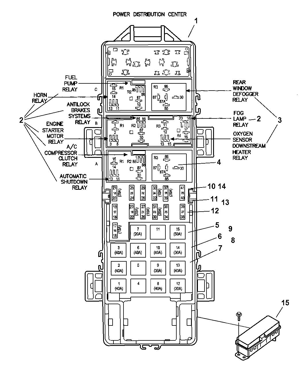 2007 Jeep Wrangler Power Distribution Center Relay  U0026 Fuses