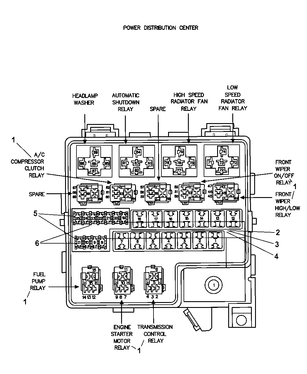 2006 dodge stratus power distribution center relays. Black Bedroom Furniture Sets. Home Design Ideas