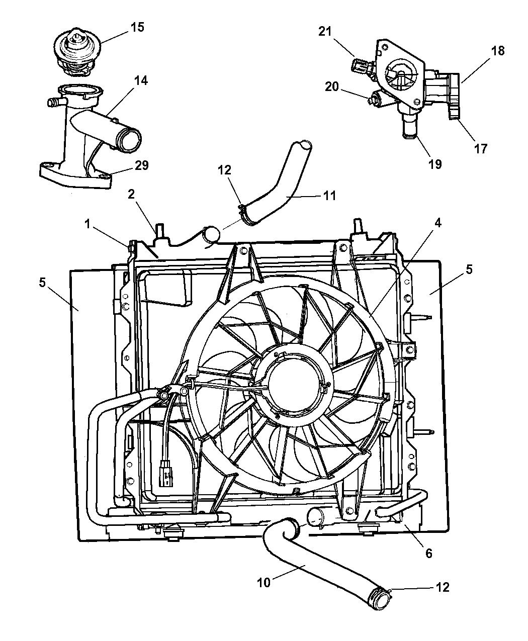 2003 chrysler pt cruiser radiator related parts rh moparpartsgiant com 2004 pt cruiser cooling system diagram 2002 pt cruiser cooling system diagram