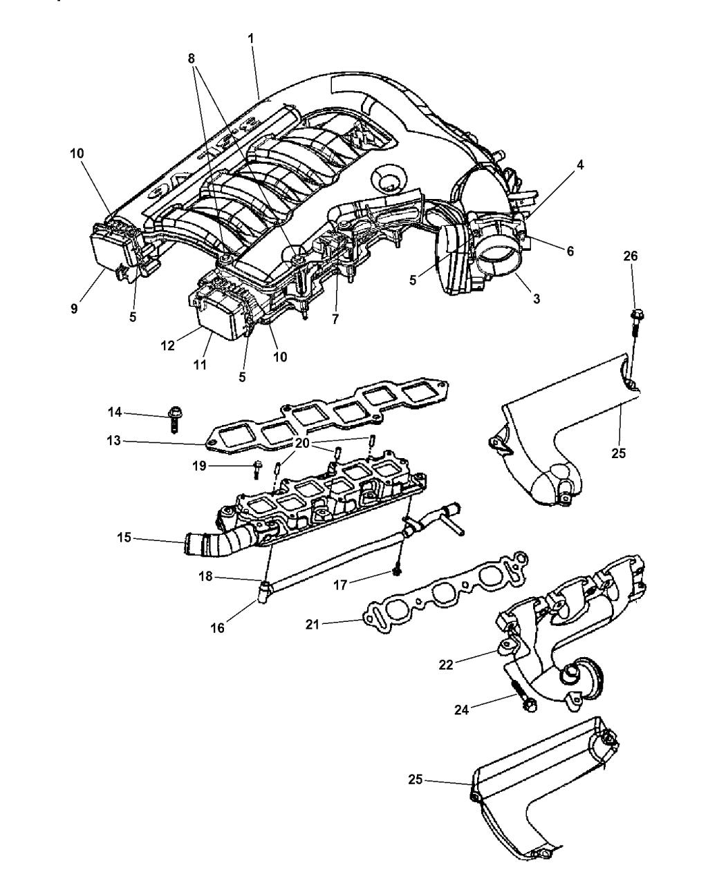 68036664aa genuine mopar plenum intake manifold rh moparpartsgiant com Ford E-150 Engine Intake North Star Engine Intake