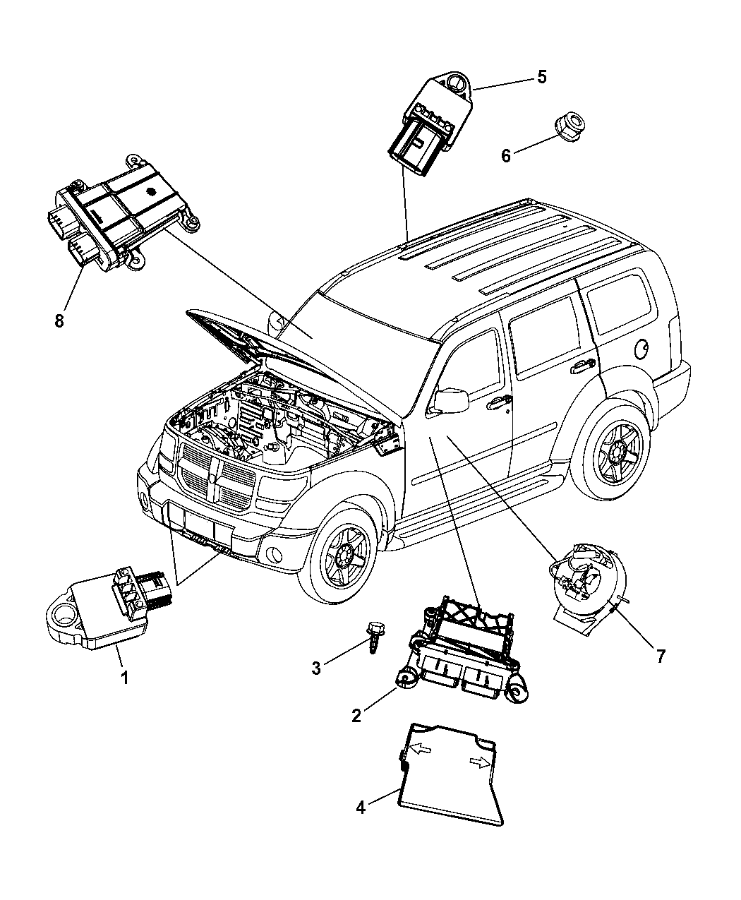 2011 Jeep Liberty Air Bag Modules Impact Sensor & Clock