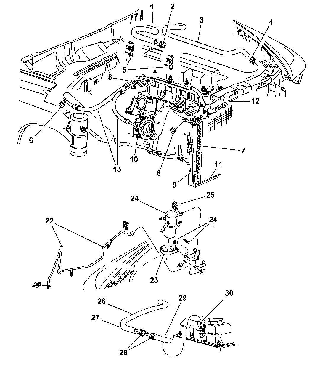 1999 Dodge Dakota Plumbing - Heater  U0026 A  C