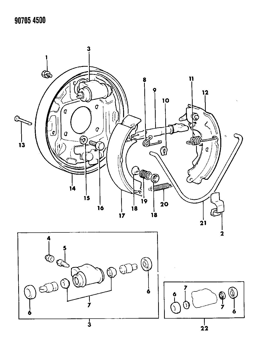1990 Dodge Colt Brake, Rear Drum - Diagram 1
