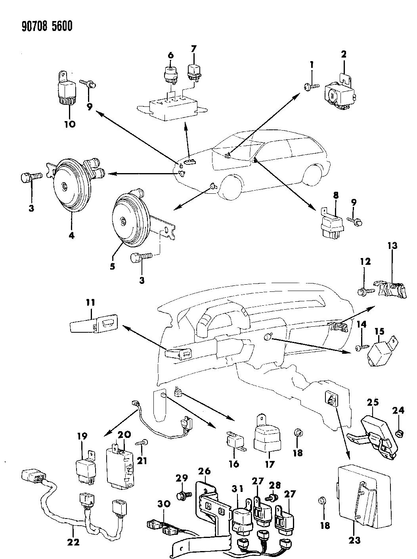 1990 Dodge Colt Horn - Relay - Flasher - Timer