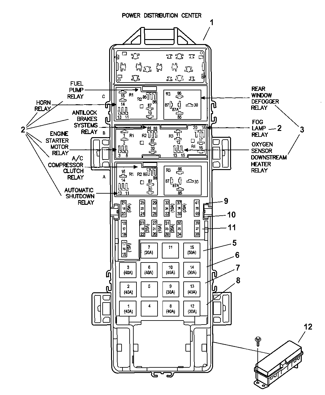 2005 Jeep Wrangler Power Distribution Center Relay & Fuses