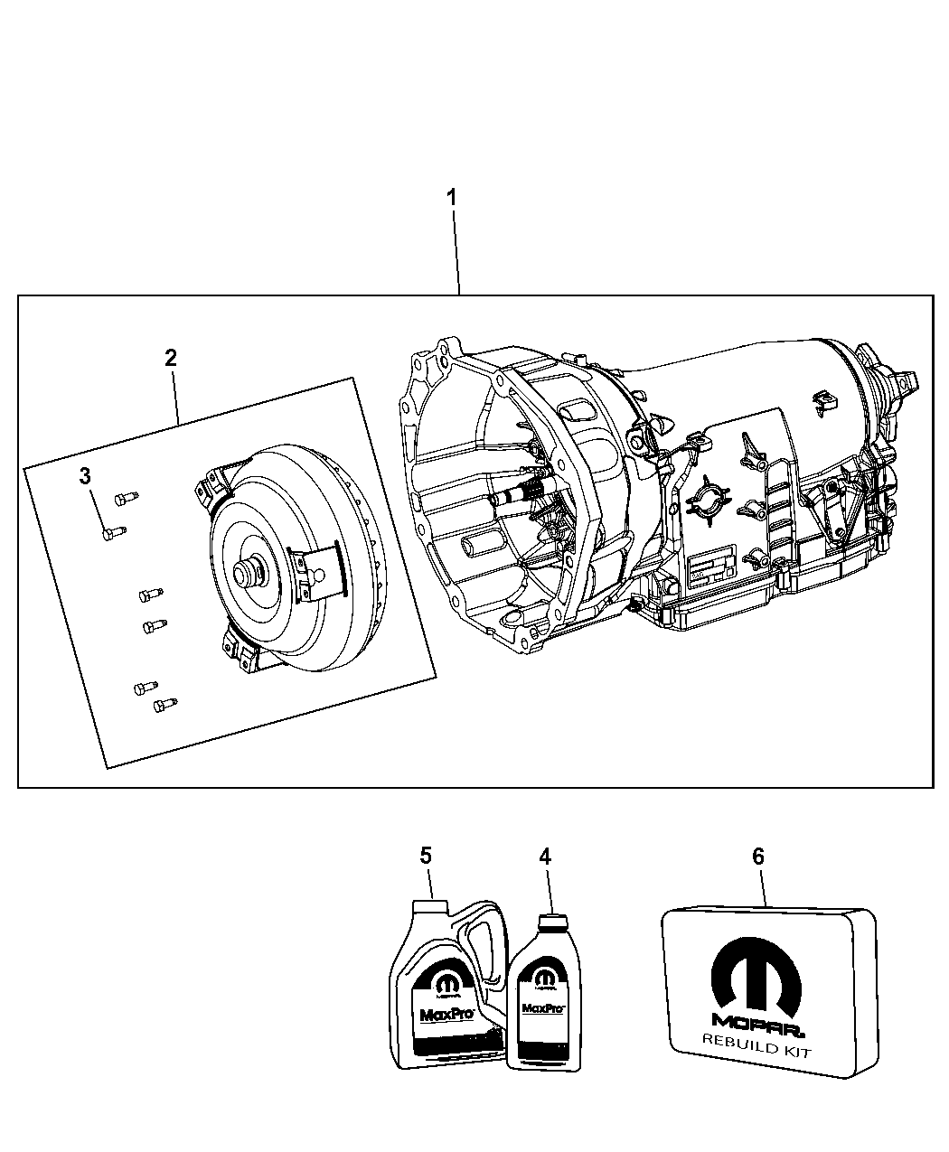 68085629ae genuine mopar trans kit with torque converter. Black Bedroom Furniture Sets. Home Design Ideas