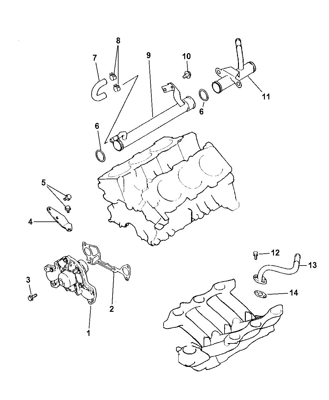 1998 Dodge Grand Caravan Water Pump & Related Parts - Thumbnail 2