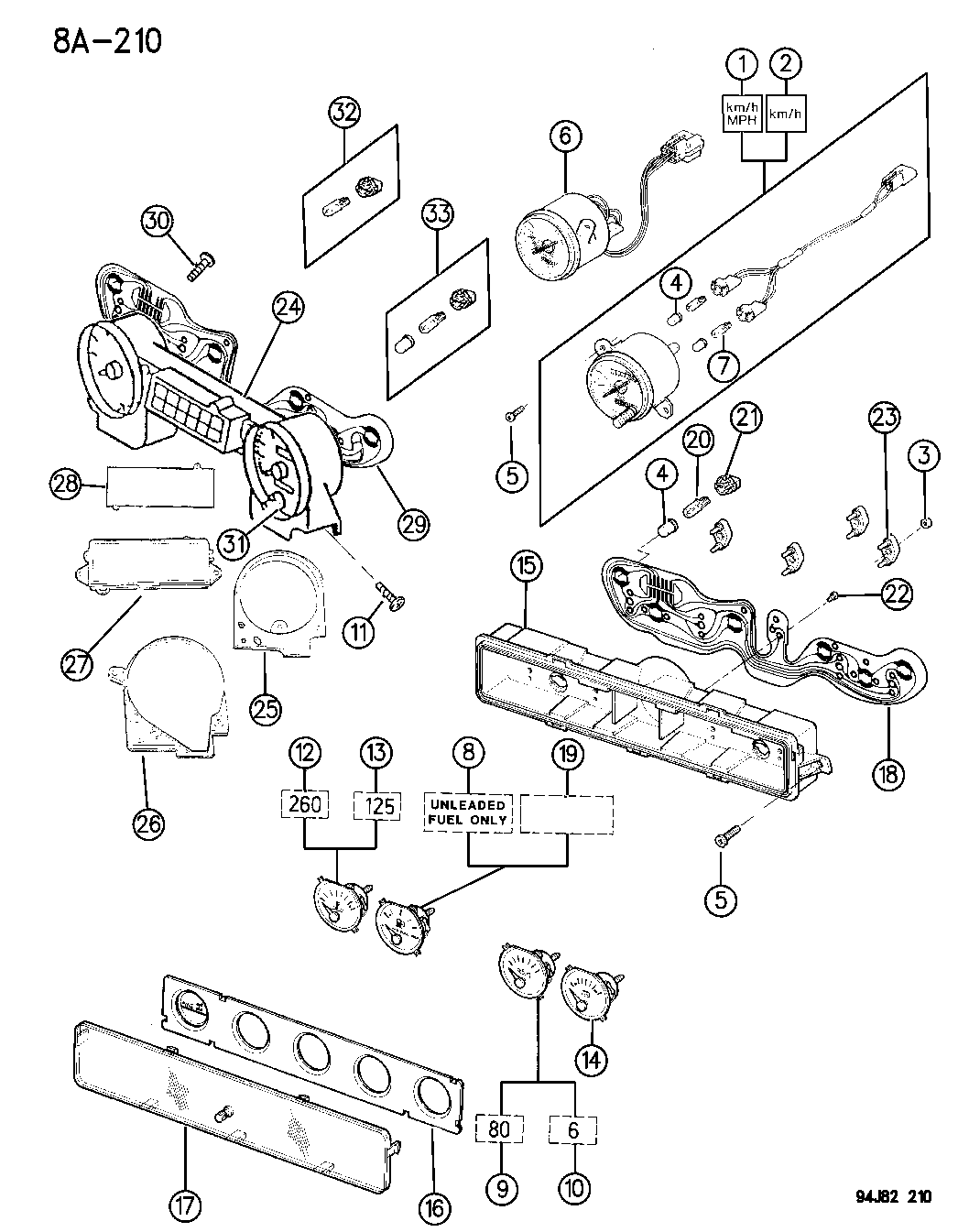 1995 Jeep Wrangler Instrument Cluster - Mopar Parts Giant  Jeep Yj Sdometer Wiring Diagram on