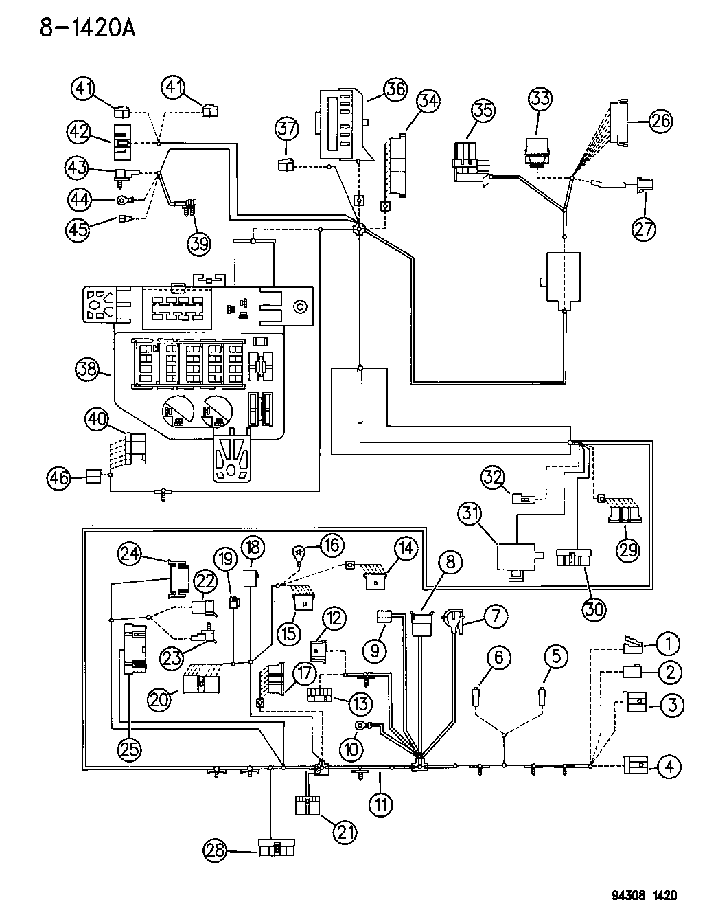1994 Dodge Ram 2500 Wiring - Instrument Panel