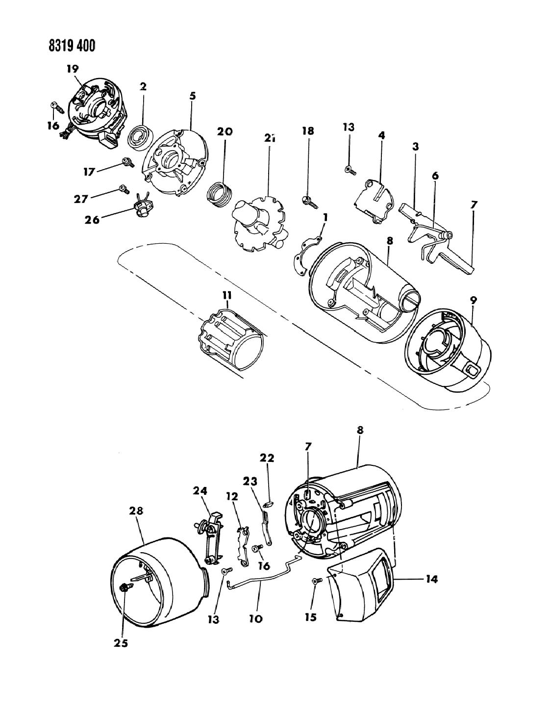 1989 dodge dakota column, steering without tilt upper1989 Dodge Dakota Steering Column Diagram #2