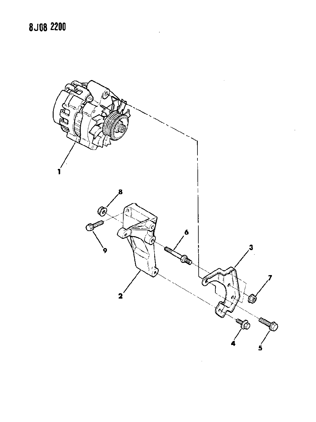 1989 Jeep Wrangler Alternator & Mounting - Thumbnail 2
